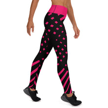 Load image into Gallery viewer, Black and happy pink High waist Yoga Leggings