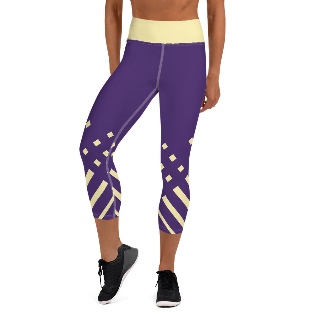 Violet and yellow-ish Yoga Capri Leggings