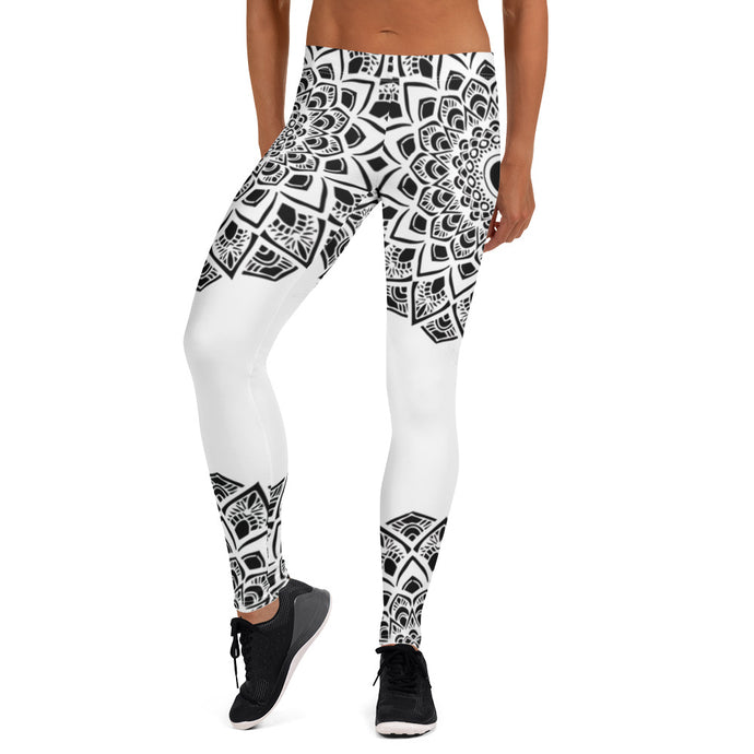 White Leggings with black Mandalas