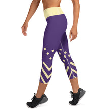 Load image into Gallery viewer, Violet and yellow-ish Yoga Capri Leggings