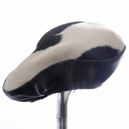 Daisy Saddle Cover - Black & White Cow Hide