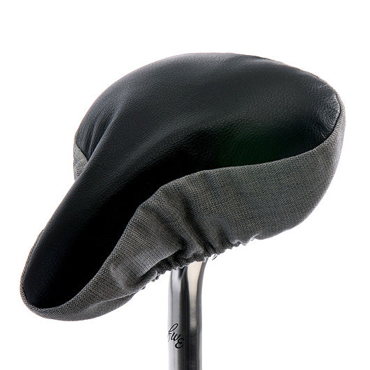 Opulent Black Saddle Cover - Black Leather