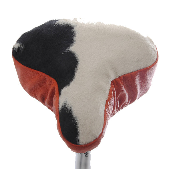 Pucci Saddle Cover - Orange Leather & Cow Hide