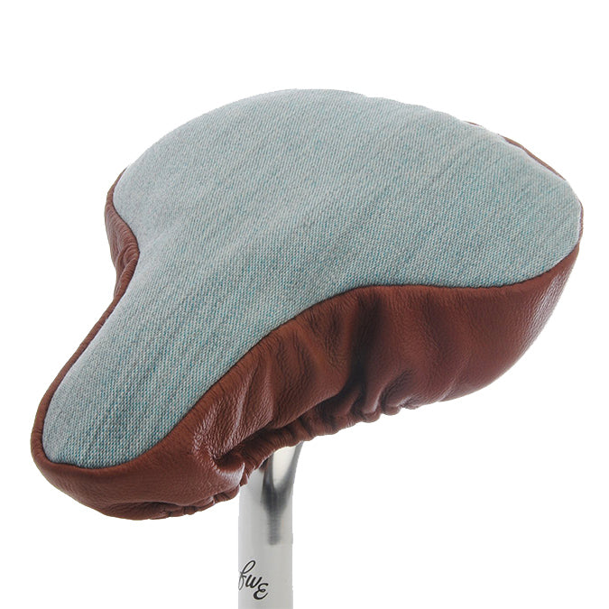 Smooth Chestnut Saddle Cover - Pale Blue with Tan Leather