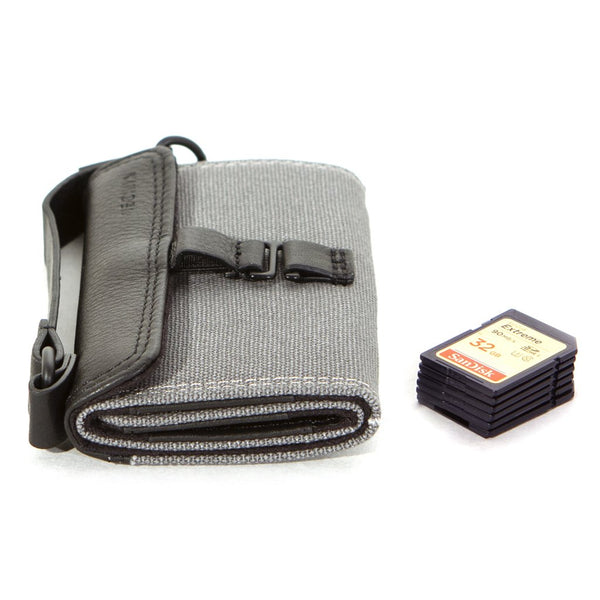 SD Memory Card Wallet in Charcoal Cotton Canvas / Fits 9 SD Cards & 4 Micro SD Cards - Cecilia