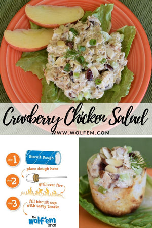 Cranberry Chicken Salad.  Tasty, easy, healthy , fun Wolf'em Stick recipe for family, friends.