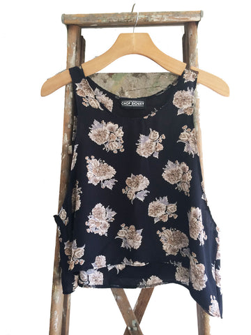 "The Sunflower-- trapeze crop tank top in ""Black Garden"""