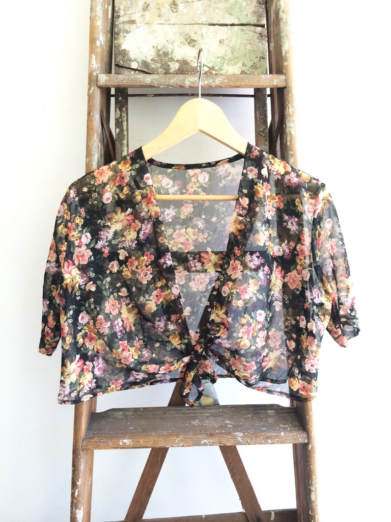 Flower Power--Short Sleeve Sheer Floral Cover-Up