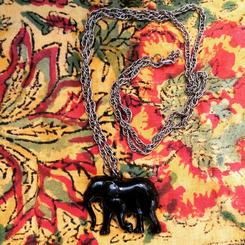 The Safari Elephant-- Vintage Pendant Necklace
