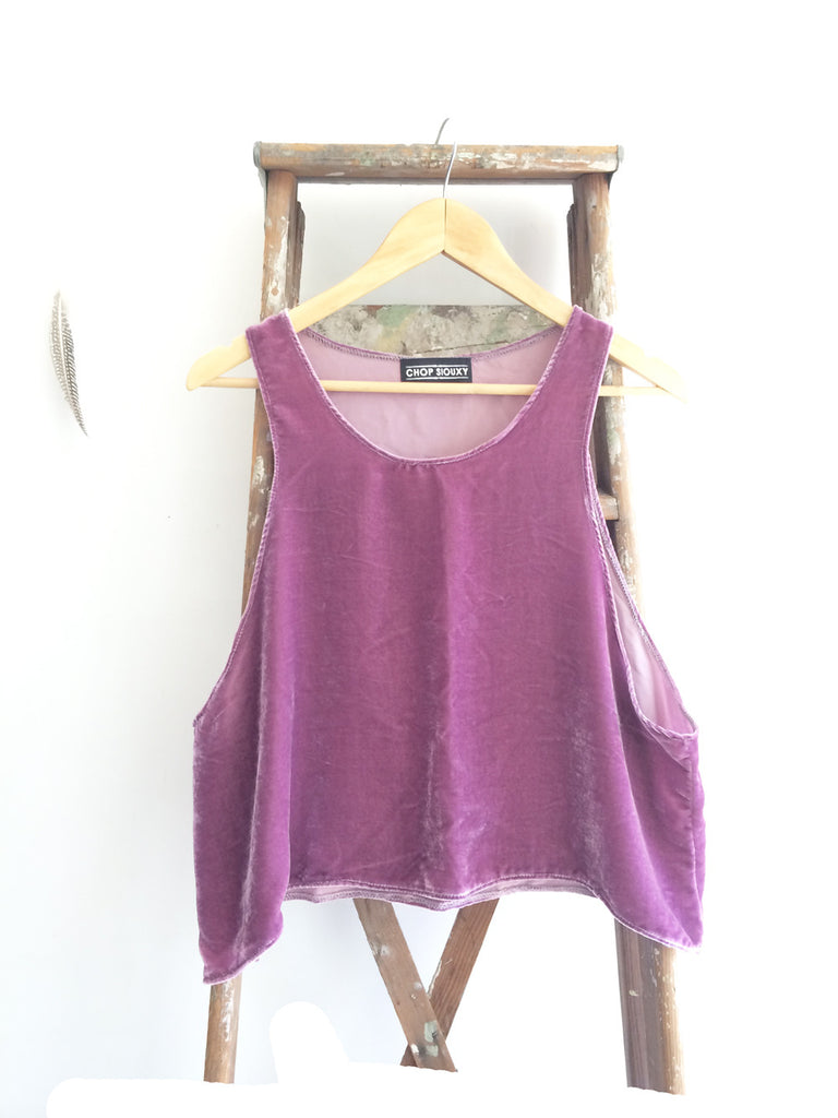 "The Sunflower-- trapeze crop tank top in ""Spring Lilac"" velvet"