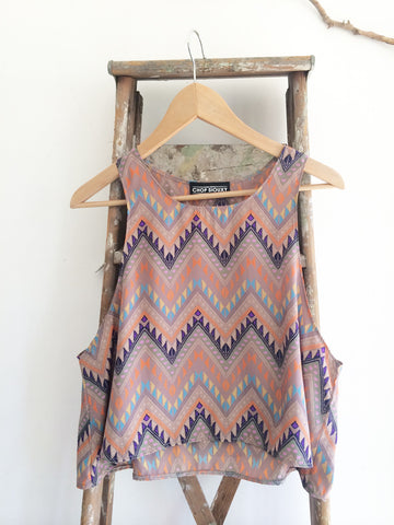 "The Sunflower-- trapeze crop tank top in ""Native Geo"""