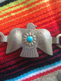 The Thunderbird-- Vintage Concho Silver Tone Belt