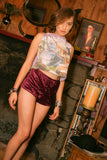 "Purple Haze-- New from ""Chop Siouxy"" Velvet Hot Pants"