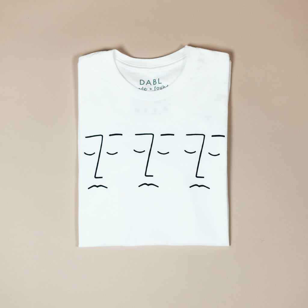White Three Faces Tee