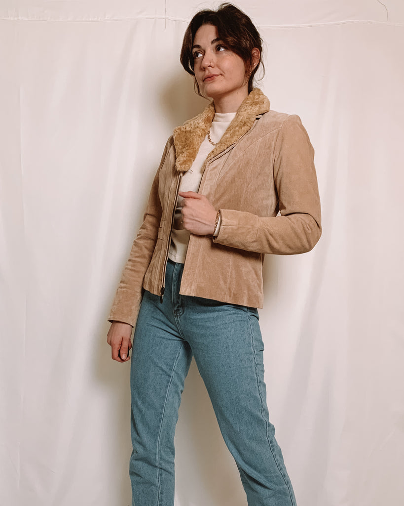 Tan Suede Jacket with Faux Fur Collar