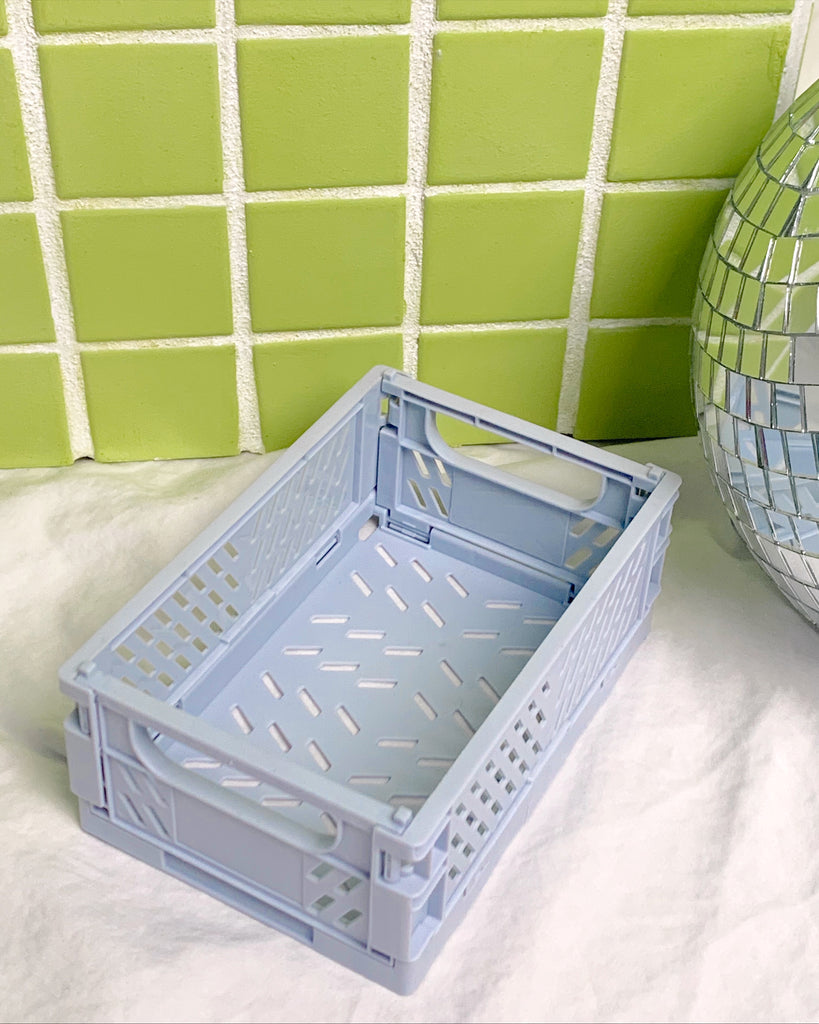 Blue Gray Mini Collapsible Storage Crate