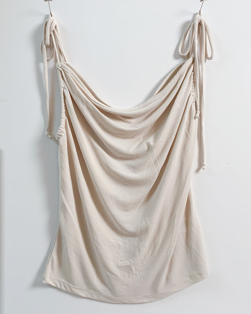 Draped in Ivory Cowl Neck Cami Top