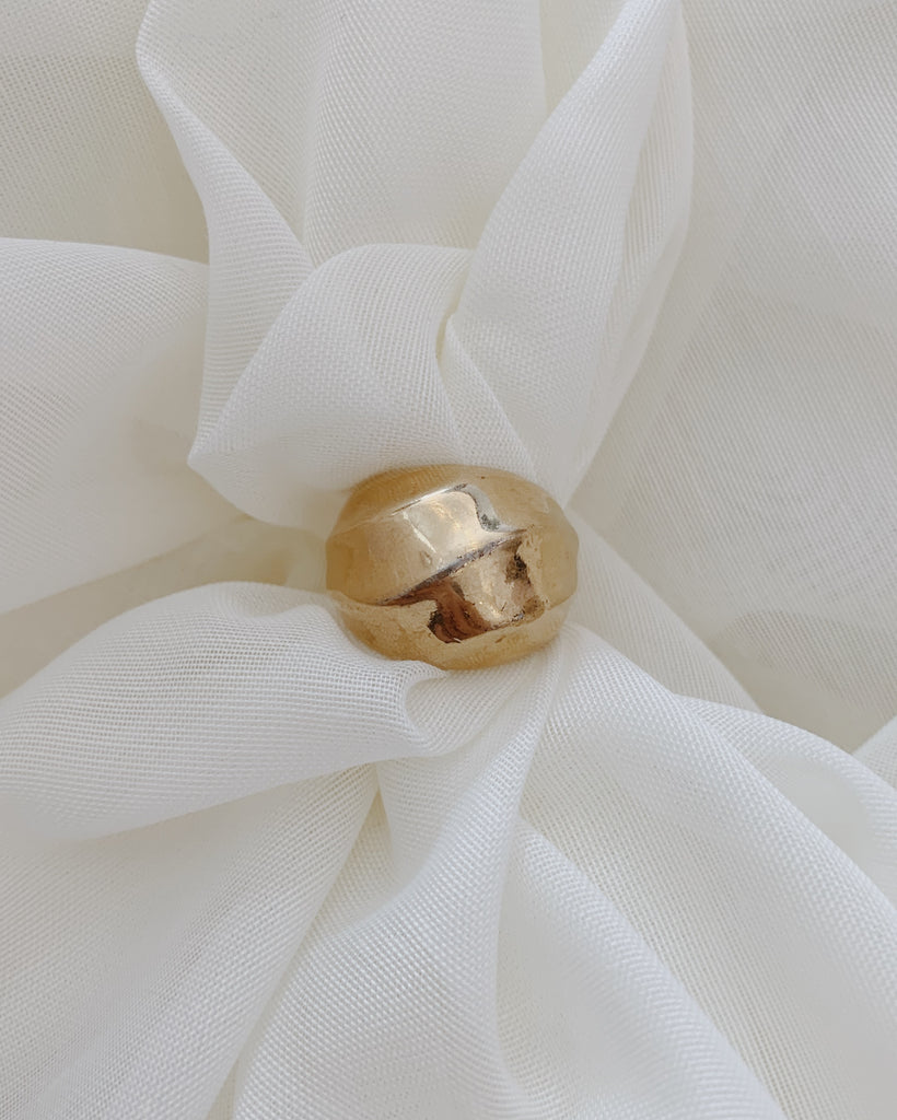 Gold Tone Bubble Ring