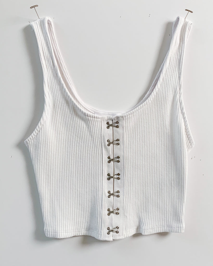 Captain Hook and Eye White Ribbed Tank Top