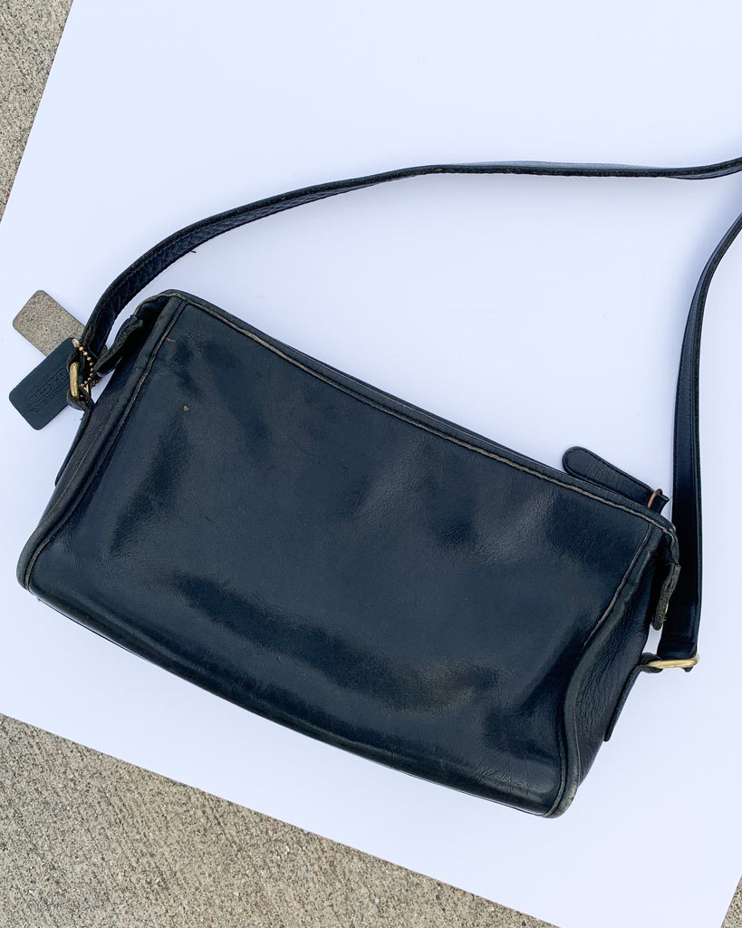1970s Black Leather Coach Crossbody Purse