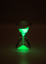 "*SALE* - TAG - 3.5"" x 2.0"" Hour Glass with Glow in the Dark Sand - Clear"
