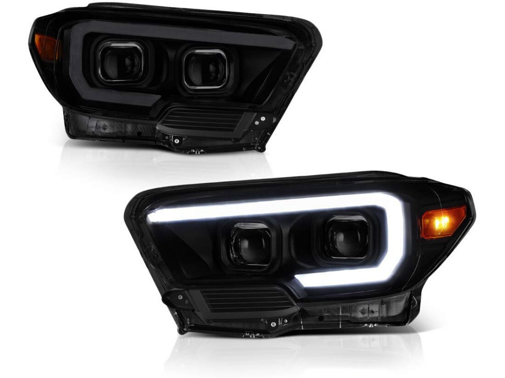 SMOKED QUAD PROJECTING HEADLIGHTS - Toyota Tacoma 3ed Gen 2016-2020 - 4x4 Runners
