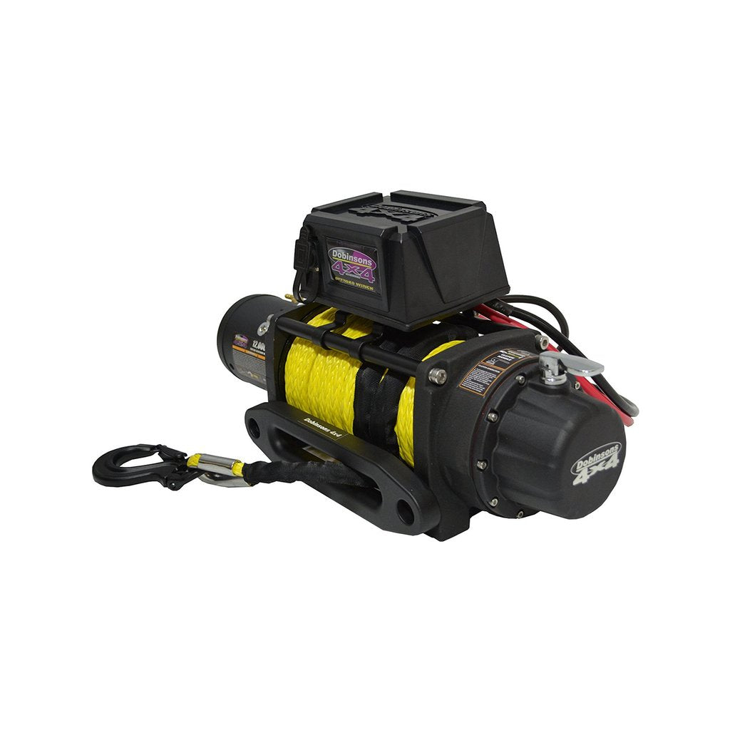 DOBINSONS - 12V ELECTRIC WINCH - 12,000 LBS CAPACITY WITH SYNTHETIC ROPE, HAWSE FAIRLEAD AND REMOTE CONTROL - 4x4 Runners