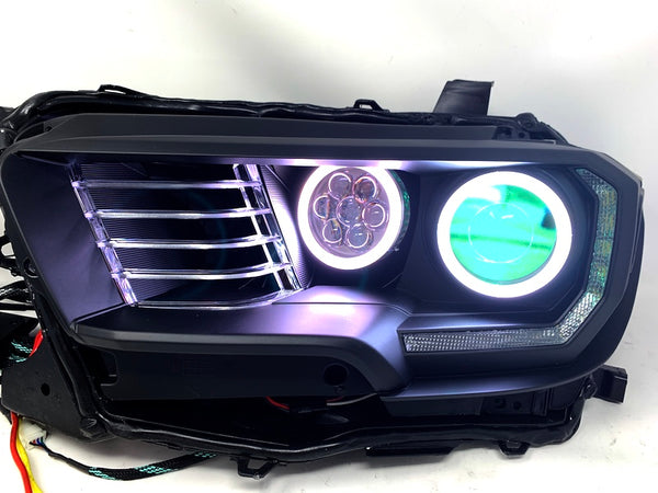 HIDRetroFit- QUAD RETROFIT PROJECTOR RGB LED HALO HEADLIGHTS - Toyota Tacoma 3rd Gen 2016-2021 - 4x4 Runners