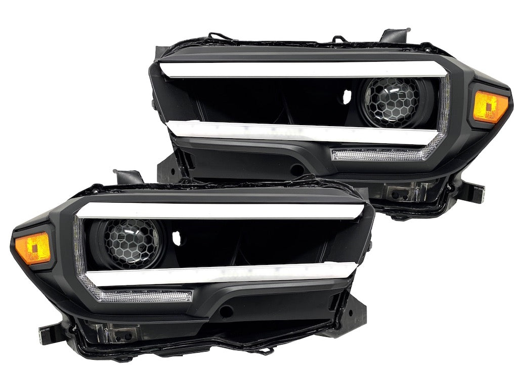 HIDRetroFit - FULL LED CUSTOM RETROFIT BLACK HEADLIGHTS - Toyota Tacoma 3rd Gen 2016-2021 - 4x4 Runners