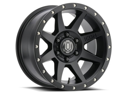 "ICON - ALLOYS REBOUND BLACK - 17 X 8.5 / 6 X 5.5 / 0MM / 4.75"" BS - 4x4 Runners"