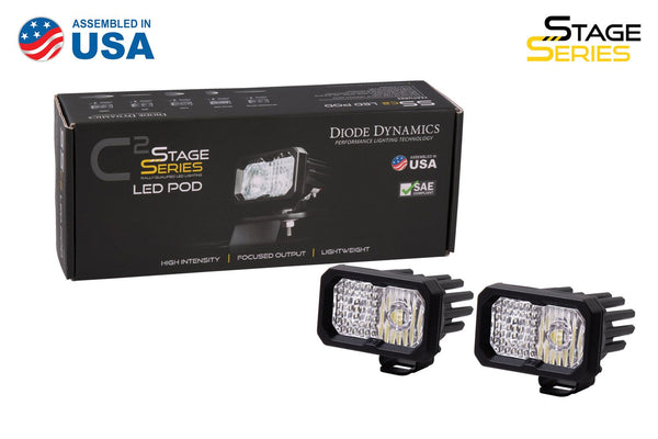 "Diode Dynamics - SSC2 PRO Stage Series 2"" SAE/DOT White Pro Standard LED Pod (pair) - 4x4 Runners"