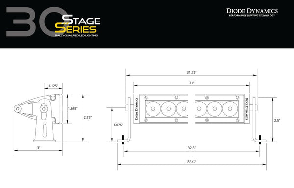 "Diode Dynamics - Stage Series 30"" Amber Light Bar - 4x4 Runners"