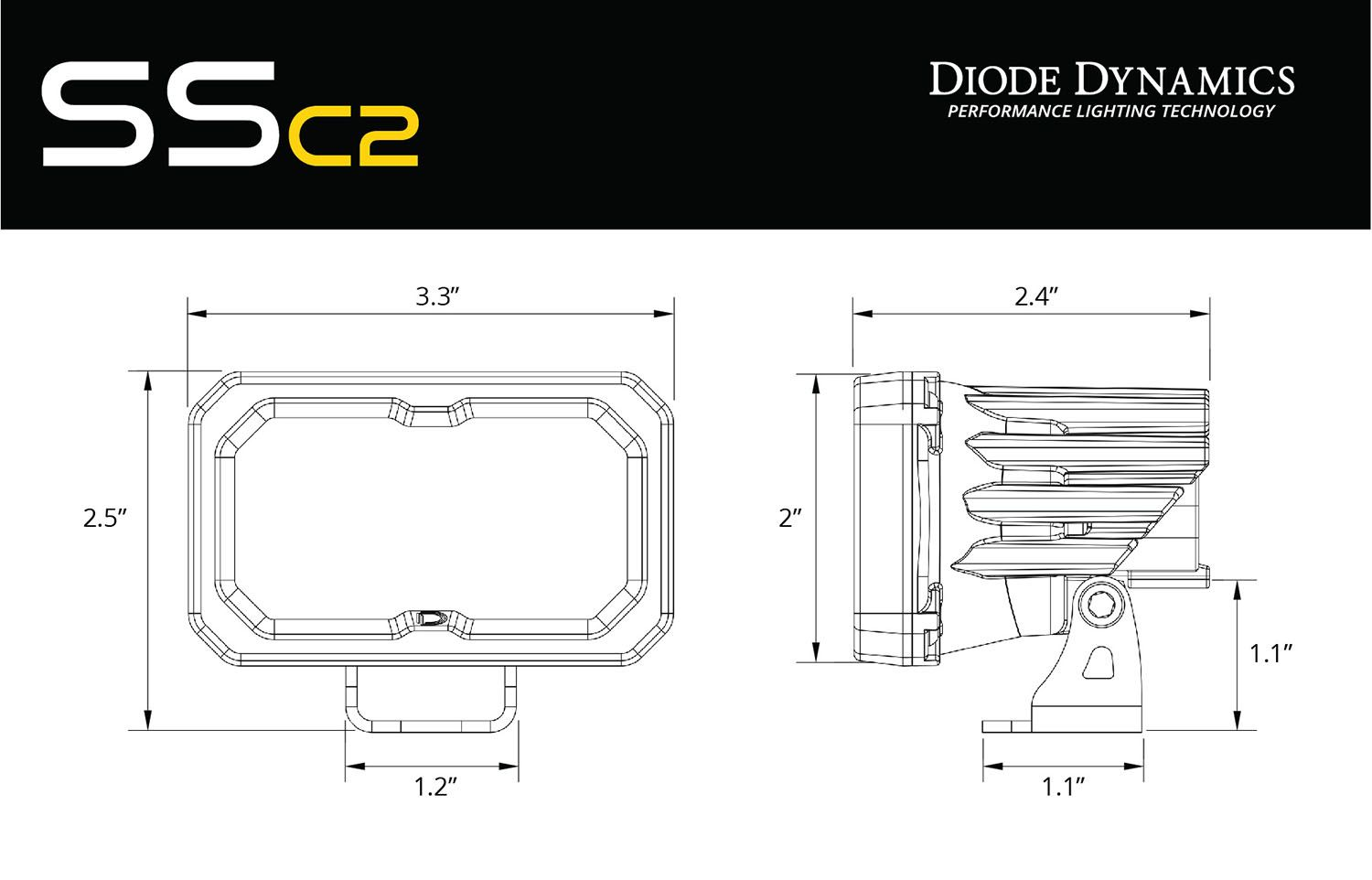 "Diode Dynamics - SSC2 Stage Series 2"" SAE/DOT White Sport Standard LED Pod (pair) - 4x4 Runners"