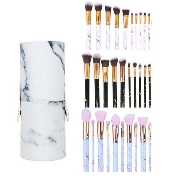 10pcs Premium Marble Texture Synthetic Hair Makeup Brushes Set with Case