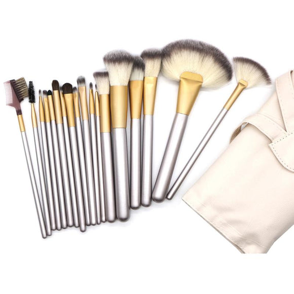 18pcs Premium Cosmetic Makeup Brush Set with Bag