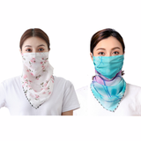 2 Packs UV Sun Protective Chiffon Face Cover Viel Neck Gaiter Scarf