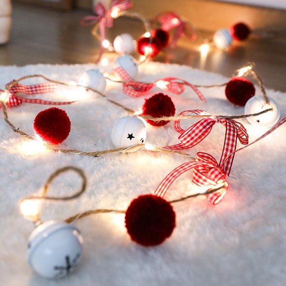 20 LED Christmas Copper String Lights Red Yarn Ball Bell Xmas Garland Light