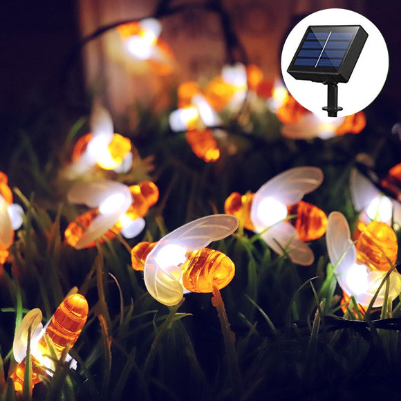 30 LED Honey Bee Fairy String Lights Solar Powered Waterproof Decor