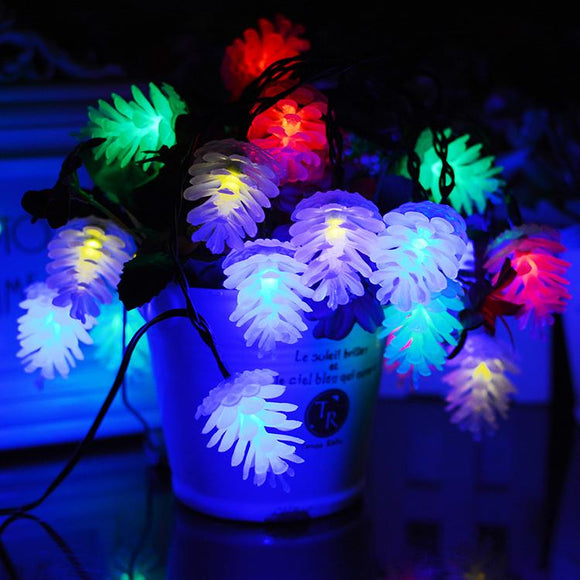 20 LED Pine Cone Fairy String Lights Solar Powered Waterproof Decor