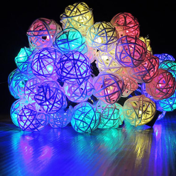 20 LED Rattan Lights Thailand Sepak Takraw Ball String Lights Solar Powered Waterproof Decor