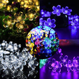 50 LED Peach Flower Solar Powered Waterproof Fairy String Lights