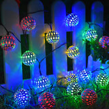 20 LED Moroccan Globe Ball Waterproof Solar Fairy String Lights