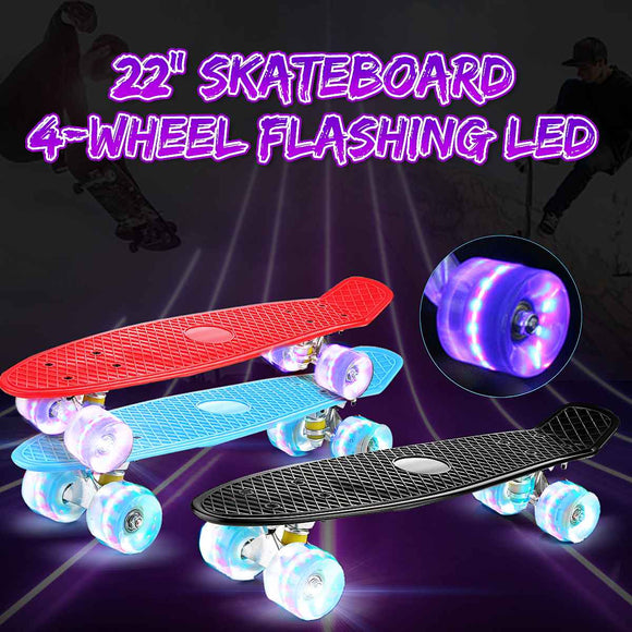 22inch Skate Board Flashing Light Mini Skateboard Plastic Longboard Four-wheel Fishboard Street Outdoor Sports For Girl Boy