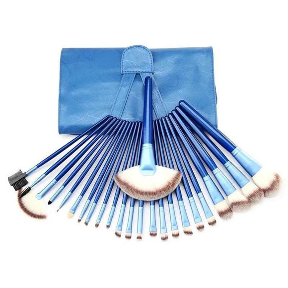 24pcs Premium Blue Cosmetic Makeup Brush Set with Bag