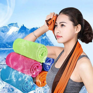 2Pcs Ice Instant Cooling Sports Towel Microfiber Sweat for Gym Yoga Camping Travel