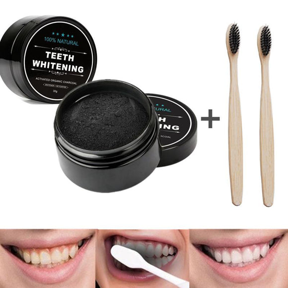 2pcs 30g Natural Activated Charcoal Teeth Whitening Powder