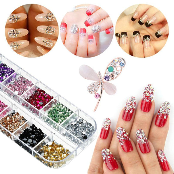 3000pcs Crystal Nail Art Round Rhinestones for Nail Jewels Crafts DIY
