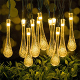 30 LED Water Drop Solar Powered Waterproof Fairy String Lights