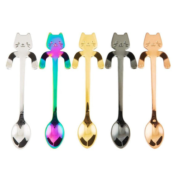 5pcs Stainless Steel Mini Cat Kitten Spoons for Coffee Tea Dessert Drink