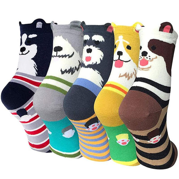 5 Pairs Womens Cute Dog Patterned Casual Crew Socks